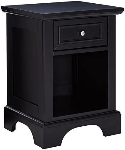 Home Styles Bedford Black Hardwood Nightstand with Storage Drawer, Open Storage Area