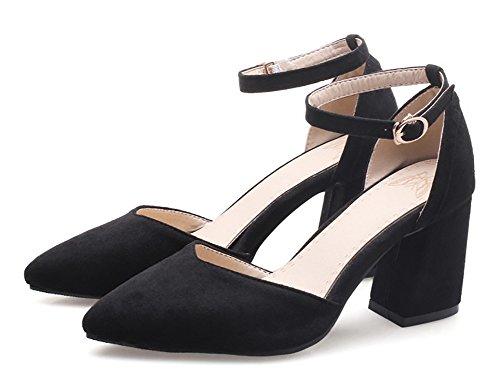 Aisun Donna Moda Fibbia Punta A Punta Dressy Medium Block Tacco Dorsay Pumps Scarpe Con Cinturino Alla Caviglia Nero