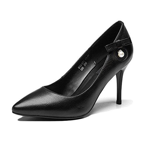 UK Bowknot Mariage De 8 5cm Chaussures EU Black Haute Cuir Chaussures Discothèque Sexy 5 Cour Noir en Mode 39 6 Femme Partie Travail Chaussures Talons wBOvHqz