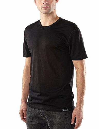 Crew Mens Clothing - Woolly Clothing Men's Merino Short Sleeve Crew Neck - Moisture Wicking, Anti-Odor, Casual Athletic wear M BLK
