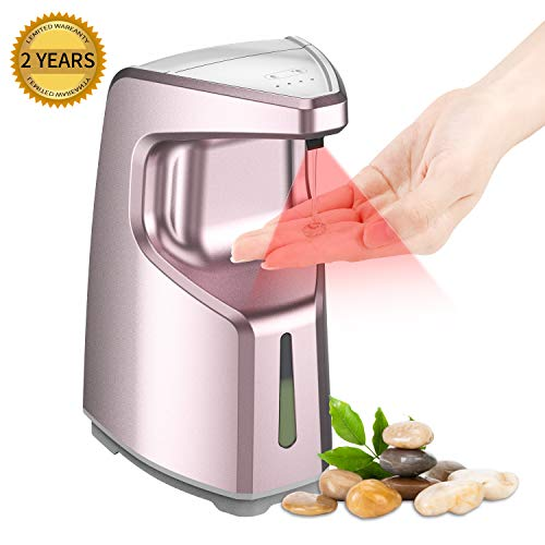 Ponydash Automatic Soap Dispenser Touchless, Bathroom Hand-Free Sensor Auto Soap Dispenser   Liquid Dish 450ml Countertop/Wall Mounted Soap Dispenser for Kitchen Shower-2-Year Warranty (Rose Gold)