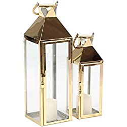 Deco 79 70089 Candle Lantern, Gold