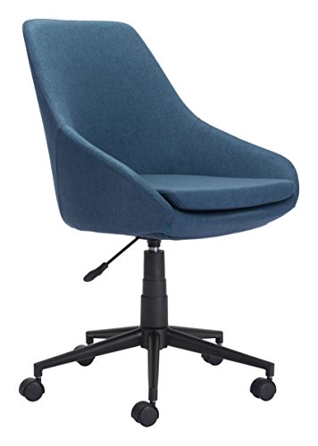 Zuo Modern 100961 Powell Office Chair, Blue, Cushioned Seat Swivels and Adjusts in Height, Sturdy Casters, 250 lbs Weight Capacity, Dimensions 24.8