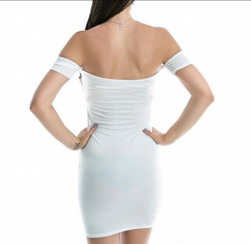 Club White Party Off Women's Domple Shoulder Dress Sexy Mini Bodycon Sheath Strapless 6FHxC