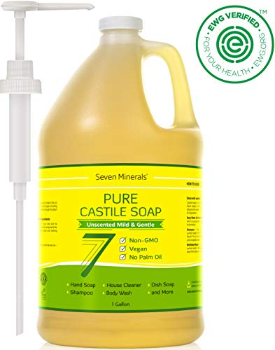 EWG Verified Castile Soap - 1 Gallon - No Palm Oil - Unscented Mild & Gentle Liquid Soap For Sensitive Skin, Baby Wash & Your Own DIY Recipes - Non GMO & Vegan Formula with Organic Carrier Oils