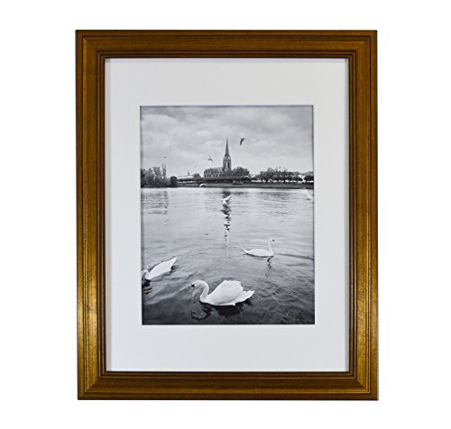 Golden State Art, 11x14 Photo Frame, Dark Gold Color, with White Mat for 8x10 Pictures & Real Glass