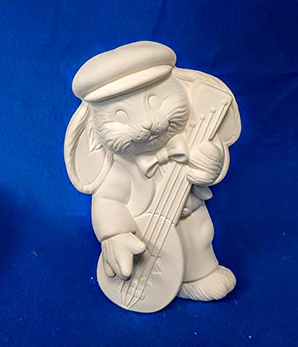 Guitar Playing Bunny Rabbit unpainted ceramic bisque ready to be painted - Musician Ceramic Figurine