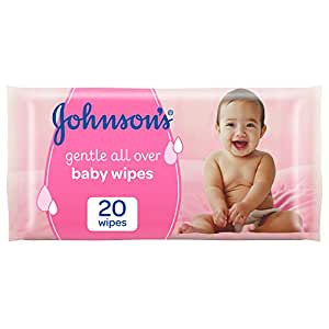 JOHNSON'S Baby, Wipes, Gentle All Over, Pack of 20 wipes