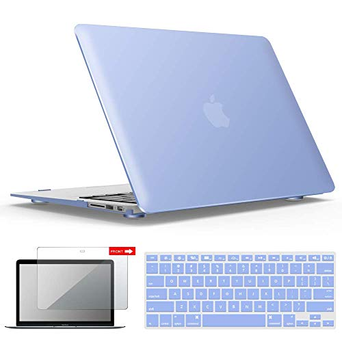 IBENZER MacBook Air 13 Inch Case, Soft Touch Hard Case Shell Cover with Keyboard Cover Screen Protector for Apple MacBook Air 13 A1369 1466 NO Touch ID, Serenity Blue,MMA1301SRL+2