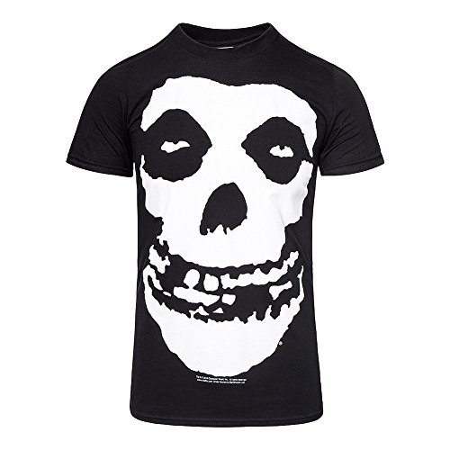 Misfits Oversized Logo with Skull Adult T-shirt - Black (X-Large)