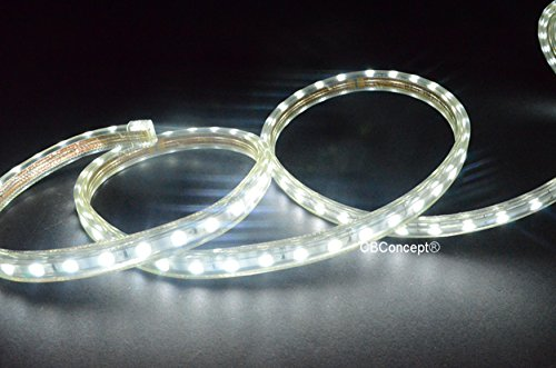 16' Rope Light (CBConcept UL Listed, 20 Feet,Super Bright 5400 Lumen, 6000K Pure White, Dimmable, 110-120V AC Flexible Flat LED Strip Rope Light, 360 Units 5050 SMD LEDs, Indoor/Outdoor Use, [Ready to use])