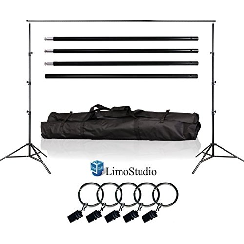 LimoStudio Photo Video Studio 10Ft Adjustable Muslin Background Backdrop Support System Stand, 5x Backdrop Helper Holders Kit with Bag, AGG1395