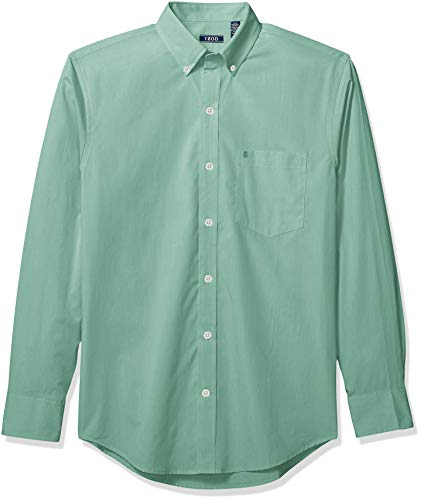 IZOD Men's Button Down Long Sleeve Stretch Performance Solid Shirt, North Sea 1, Small ()