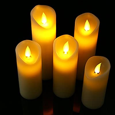 """Cefun Flameless Led Candles Battery Operated Flickering Candles with Timer 5"""" 6"""" 7"""" 8"""" 9"""" Pack of 5 Ivory White"""