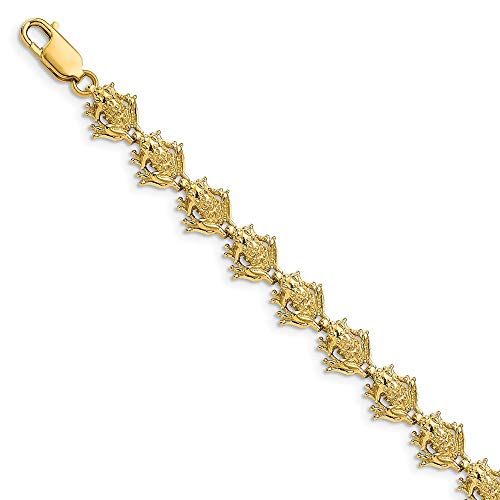 14k Yellow Gold Frog Bracelet 7.25 Inch Animal Fine Jewelry Gifts For Women For Her