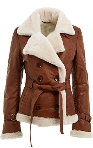 - Women's Tan Double Breasted Real Shearling Sheepskin Leather Pea Coat (L)