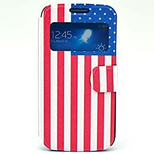 TOPMM USA Flag Pattern PU Open the Window Leather Case with Card Slot and Stand for Samsung Galaxy S4 mini I9190
