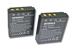 INTENSILO 2x Li-Ion batería 1250mAh (3.7V) para cámara de video, videocámara Premier DS8330 por DS8330-1, BATS8.