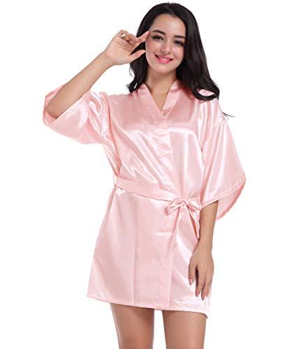 Wedding Pink Kimono Accappatoio bride Corto per da Robe Donne da per matrimonio Sleepwear le Camicia Kimono Abito Satin sposa notte Hammia donne damigella d'onore dtqOvBwxd