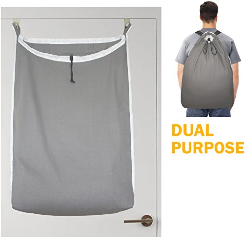 Hanging Laundry Hamper Bag, Easily Turn into Laundry Backpack with 2 Adjustable Shoulder Strap, Free Over-the-door Hooks.