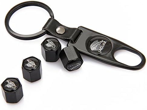 Czlpv Noir de voiture de roue Pneu Bouchons de valve Pneu Tige Air Caps Keychain Styling pour Jaguar