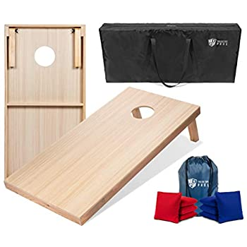 Image of Tailgating Pros 4'x2' & 3'x2' Premium Woodgrain Cornhole Game w/Carrying Case & Set of 8 Corn Hole Bags - 150+ Color Combos! Optional LED Lights