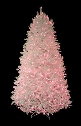 7.5' Pre-Lit Shimmering White Iridescent Christmas Tree - Pink Lights