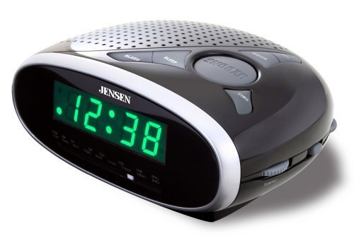 Jensen JCR175 AM/FM Alarm Clock Radio with 0.6-Inch Green LE