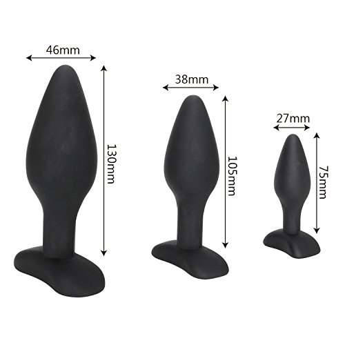Sexy Black Silicone Anal Plug Massage Adult Sex Toys for Women Man Gay Anal But Plug Set Buttplug Butt Plugs Sex Products 1 Set by MIinIy