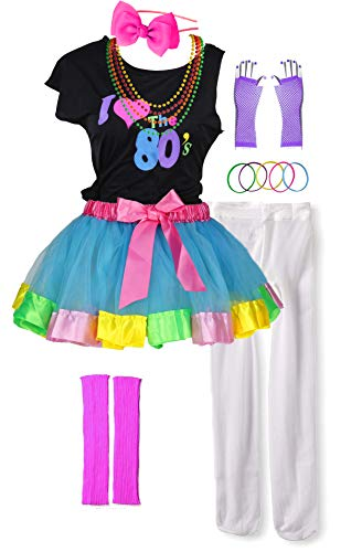 I Love 80s Pop Party Rock Star Child Girl's Costume Accessories Fancy Outfits (8-10, Blue) -