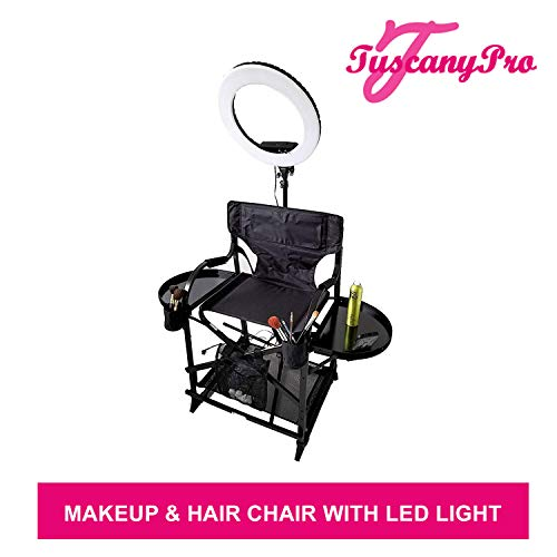 TuscanyPro Portable Makeup Hair Chair with 14 Inch LED Ring Light – Perfect for Makeup, Hair Stylist, Salon with 25 Inch Seat Height – Carry Bag Included – USA Patented Design
