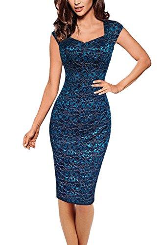df4e6dd9e069 YACUN Damen Bodycon Bleistift Spitzen Büro Abend Cocktail Kleid Blue  wSARhXUqjj