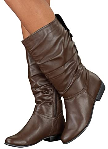 Scrunch Boots, Brown, Size 9-1/2 (Medium) - Leather Scrunch Boot