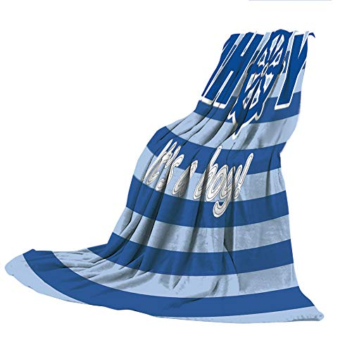 SCOCICI Customized Comfortable Blanket Sofa Bed or Bed 3D Printing,Ahoy Its a Boy,Baby Shower New Birth Announcement Marine Wheel Striped Backdrop,Light Blue Blue White,47.25