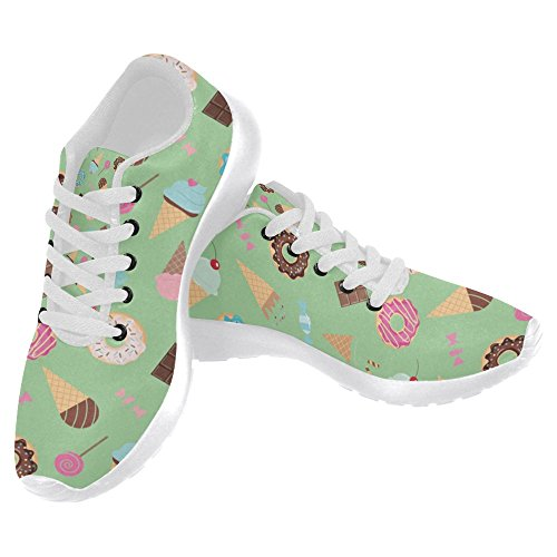InterestPrint Women's Jogging Running Sneaker Lightweight Go Easy Walking Casual Comfort Running Shoes Size 9 Sweets Ice Cream Donuts Cupcakes Chocolate Bar Candies Ice Cream Shoes Women