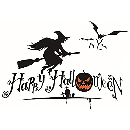 boodecal happy halloween with flying witch and bats art design for house decoration removable halloween series