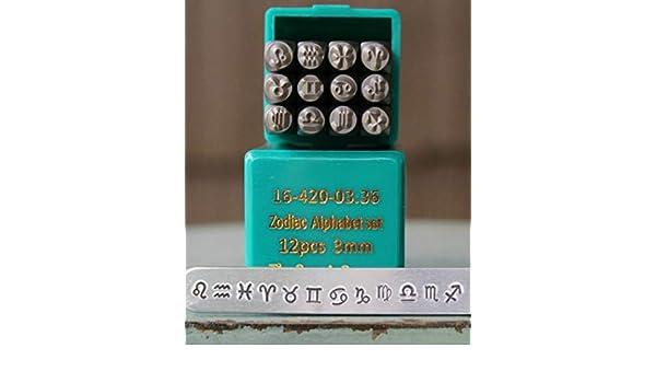 SupplyGuy 6mm 12 Zodiac Sign Metal Design Stamp Punch Set SGCH-Zodiac