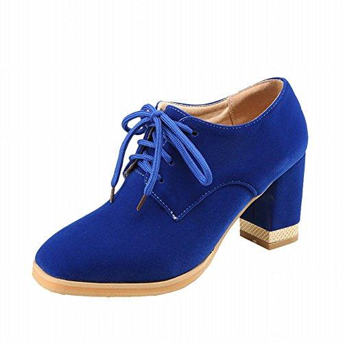 Mostrar Shine Moda Mujer Chunky Heel Lace Up Oxfords Zapatos Blue