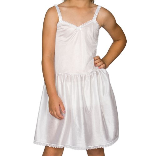 I.C. Collections Little Girls White Adjustable Nylon Slip, 5 -