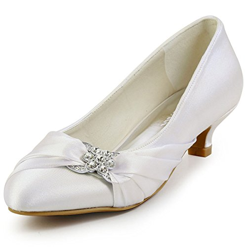 (ElegantPark EP2006L Women Closed Toe Comfort Heel Rhinestone Satin Wedding Bridal Shoes Ivory US 9)