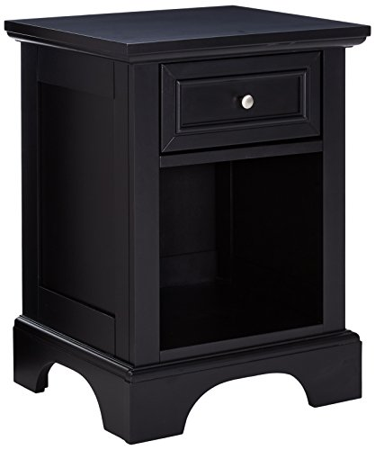 picture of Home Styles Bedford Black Hardwood Nightstand - Storage Drawer, Open