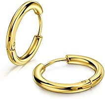 316L Surgical Stainless Steel Huggie Hoop Earrings 8mm/10mm/12mm/14mm/16mm/18mm/20mm Cartilage Helix Lobes Daith Conch...