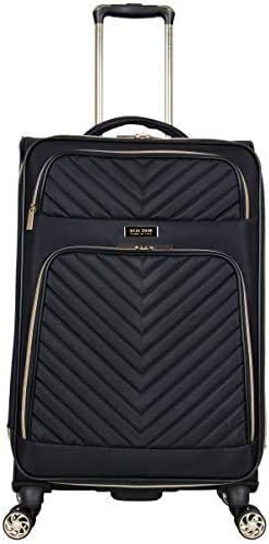 """Kenneth Cole Reaction Women's Chelsea 24"""" Chevron Quilted Softside Expandable 8-Wheel Spinner Checked Suitcase, Black, Inch"""