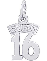 Sterling Silver Sweet 16 Charm (10 x 12 mm)