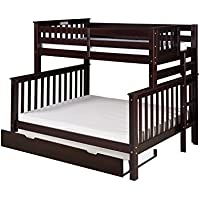 Camaflexi Santa Fe Mission Tall Bunk Bed End Ladder with Under Bed Trundle, Twin over Full, Cappuccino