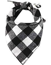 EYLEER Pet Dog Bandana 100% Cotton Reversible Triangle Plaid Bibs Scarf Dog Kerchief Accessories for Medium Large Dog Puppy(L Size)