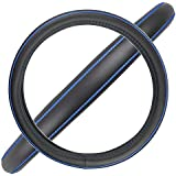 BDK ACDelco Compatible Car Steering Wheel Cover Replacement Cover for 14.5 to 15.5 Wheel, Synth Leather Blue Stitch