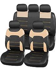 Upgrade4cars Autostoelhoezen Leer Look Set Universeel Zwart Grijs | Autostoel Hoezen met Zij-Airbagopeningen en Deelbare Achterbank | Auto Accessoires Interieur