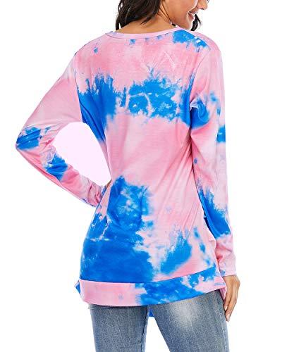 CIZITZZ Womens Tie Dye V-Neck Long Sleeve Side Button Basic Top Regular & Plus Size PF2 L