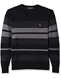 Men's Stretch Textured Stripe V-Neck Sweater